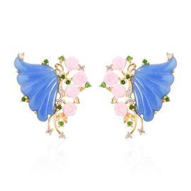 30.22 Ct Multi Gemstone Floral Stud Earring in Sterling Silver 8.50 Grams