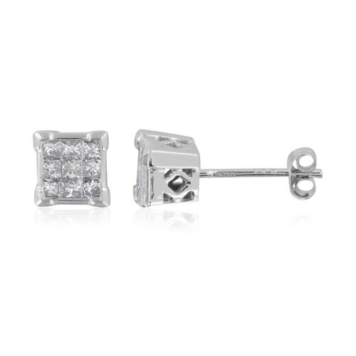 New York Close Out - 14K White Gold Diamond (Princess Cut) (I1-I2/G-H) Earrings (with Push Back) 0.500 Ct., Gold wt 2.20 Gms.