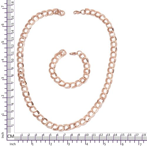 Double Link Curb Necklace (Size 24) and Bracelet (Size 7.50) with Lobster Lock in Rose Gold Overlay Stainless Steel