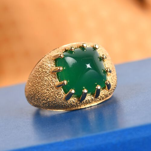 GP Verde Onyx and Blue Sapphire Ring in 14K Gold Overlay Sterling Silver 6.00 Ct.