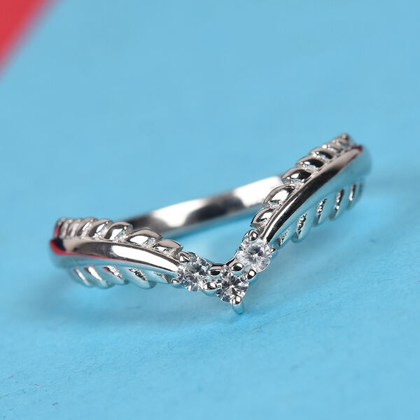 Natural Cambodian Zircon Ring in Platinum Overlay Sterling Silver 0.15 Ct.