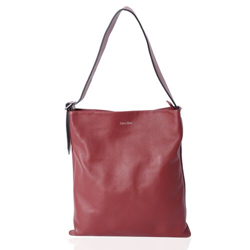 Sencillez Sassy Red 100% Genuine Nappa Leather Tote Bag with Adjustable Shoulder Strap (Size 39x36 C