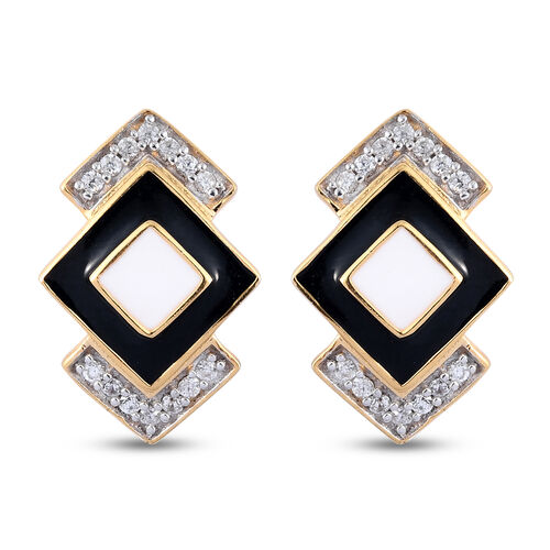 GP Art Deco - Natural Cambodian Zircon and Blue Sapphire Enamelled Earrings in 14K Gold Overlay Ster