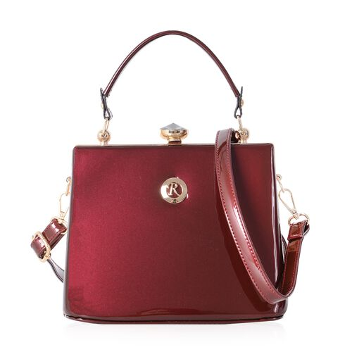 Boutique Collection High Glossed Vintage Style Burgundy Tote Bag with Adjustable and Removable Shoul
