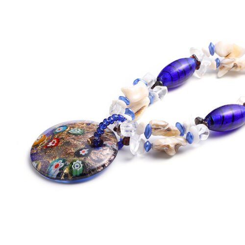 Blue Murano Beads, White Austrian Crystal, Red Garnet and Multi Gemstone Nceklace (Size 28 with 3 inch Extender) in Silver Tone