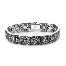 Royal Bali 8 Inch Handmade Bracelet With Textures in 18K Gold and Sterling Silver 52.94 Grams