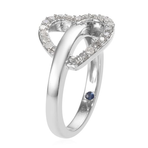 GP Diamond (Rnd), Blue Sapphire Heart Ring in Platinum Overlay Sterling Silver 0.35 Ct.