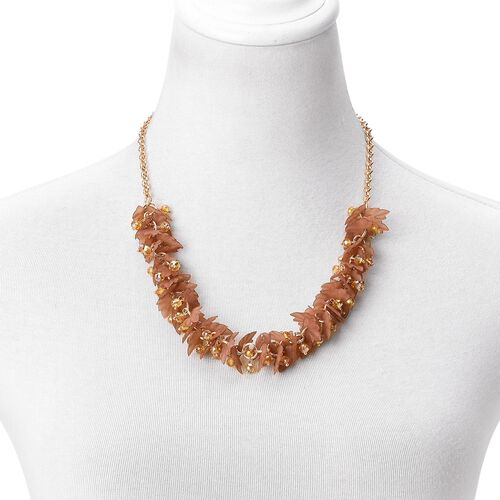 Simulated Citrine and Yellow Colour Leaves Necklace (Size 25 with Extender) in Yellow Gold Tone