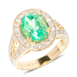 ILIANA 18K Yellow Gold AAA Boyaca Colombian Emerald, Diamond (SI-G-H) Ring 3.290 Ct, Gold wt 5.32 Gms.