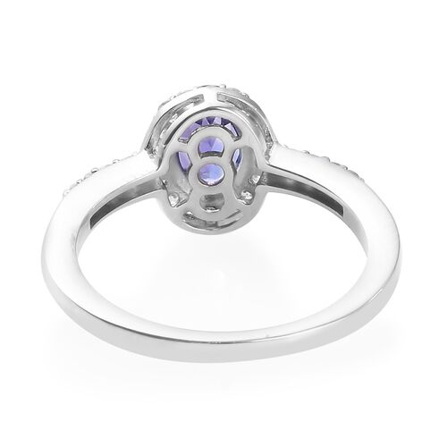 AAA Tanzanite and Natural Cambodian Zircon Ring in Platinum Overlay Sterling Silver 1.25 Ct