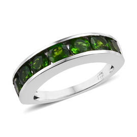 Russian Diopside (Rnd 4 mm) Channel Set Half Eternity Band Ring in Platinum Overlay Sterling Silver 2.000 Ct.