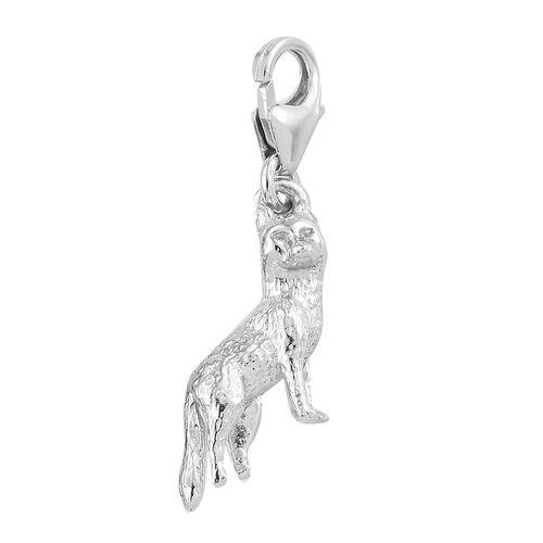 Platinum Overlay Sterling Silver Fox Charm