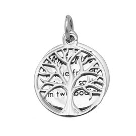 Tree of Life and Engraved Pendant in Sterling Silver 3.33 Grams