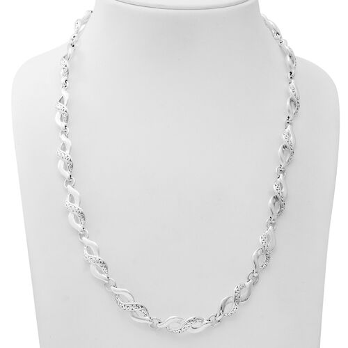Limited Edition Deal- Designer Inspired- Sterling Silver Infinity Necklace (Size 23) with Lobster Clasp, Silver wt 41.53 Gms