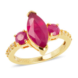 3.30 Ct African Ruby and Zircon Solitaire Design Ring in Silver
