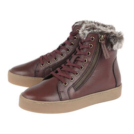 Lotus Siobhan Leather Stressless Sneakers with Faux Fur Lining- Burgundy
