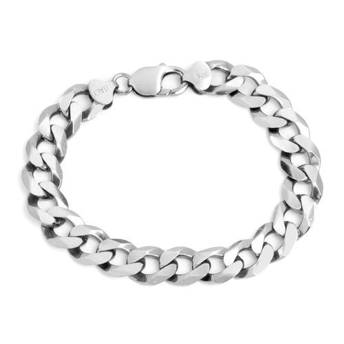 JCK Vegas Collection Platinum Overlay Sterling Silver Curb Bracelet (Size 8.5), Silver wt 34.34 Gms.