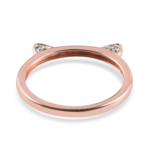 Diamond Cat Ear Stacking Ring in Rose Gold Plated Silver