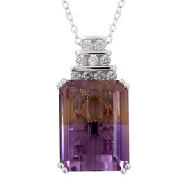 Natural Anahi Ametrine (Oct 13.00 Ct),Natural White Cambodian Zircon Pendant With Chain (Size 18) in