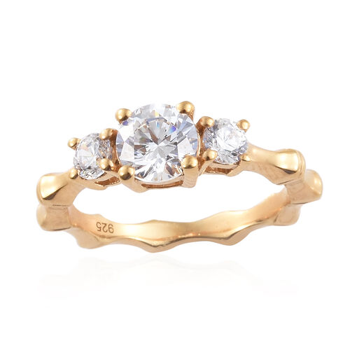 J Francis - 14K Gold Overlay Sterling Silver (Rnd 6 mm) Band Ring Made with SWAROVSKI ZIRCONIA