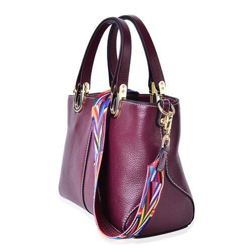 100% Genuine Leather Burgundy Colour Tote Bag with Multi Colour Removable Shoulder Strap (Size 24x19x11.5 Cm)