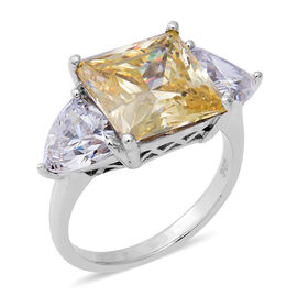 ELANZA Swiss Star Simulated Canary Diamond and Simulated Diamond Ring in Rhodium Overlay in Sterling