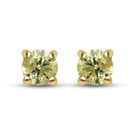 9K Yellow Gold SGL Certified Natural Yellow Diamond (I3) Stud Earrings 0.25 Ct.