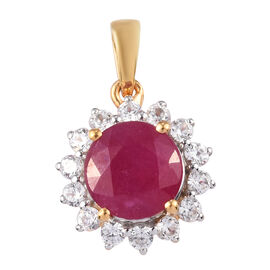 Luxury Collection- African Ruby (RD9) and Natural White Zircon  Pendant in 14K Gold Overlay Sterling