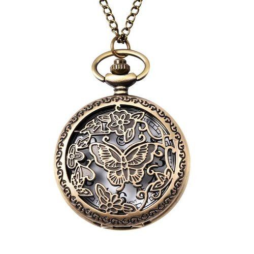 STRADA Japanese Movement Butterfly Pattern Pocket Watch with Chain (Size 31) in Antique Bronze Plate