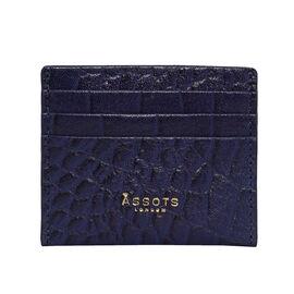 Assots London FANN Croc Embossed Genuine Leather RFID Credit Card Holder (Size 10x8.5cm) - Navy