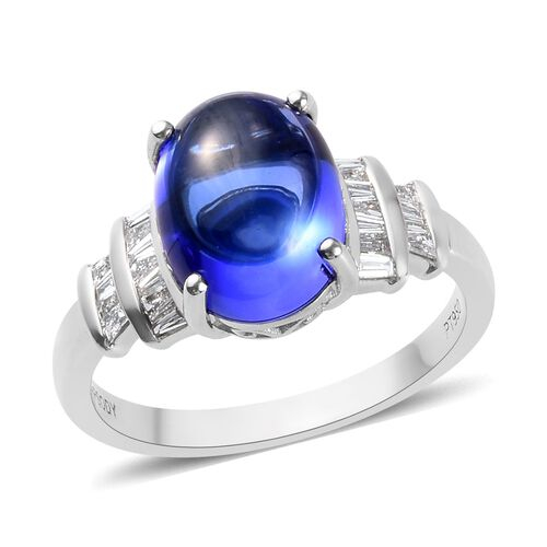 HeirLoom Collection-RHAPSODY 950 Platinum AAAA Tanzanite and Diamond (VS/E-F) Ring 5.25 Ct, Platinum