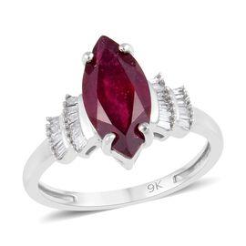 9K White Gold African Ruby (Mrq), Diamond Ring 2.25 Ct.