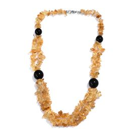 405 Ct Citrine and Black Onyx Beaded Necklace in Sterling Silver 20 Inch