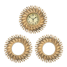 3 Piece Set - Golden Flower Wall Clock with Mirrors (Size 26x26cm/Pcs)