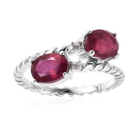 GP African Ruby, Natural Cambodian Zircon and Blue Sapphire Bypass Ring in Rhodium Overlay Sterling