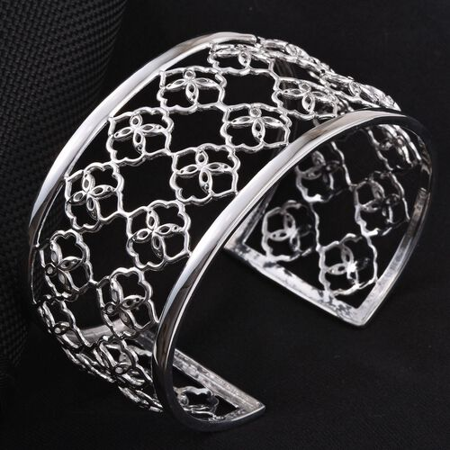 Kimberley Crimson Spice Collection Platinum Overlay Sterling Silver Cuff Bangle (Size 7.5), Silver wt 19.00 Gms.