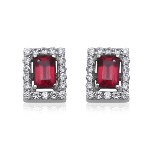 9K White Gold AAA African Ruby (Oct 6x4mm), Natural Cambodian Zircon Stud Earrings (with Push Back)