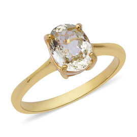 2.46 Ct Hiddenite Solitaire Ring in Gold Plated Sterling Silver