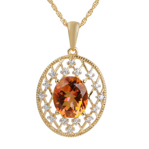Twilight (Ovl), Natural Cambodian Zircon Pendant with Chain in Yellow Gold Overlay Sterling Silver 0.813 Ct.
