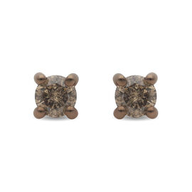 Super Find- 9K Rose Gold Champagne SGL Certified Diamond (I3) Earrings ( with Push Back )  0.50 Ct.