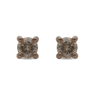 9K Rose Gold Natural Champagne SGL Certified Diamond (I3) Earrings ( with Push Back )  0.50 Ct.