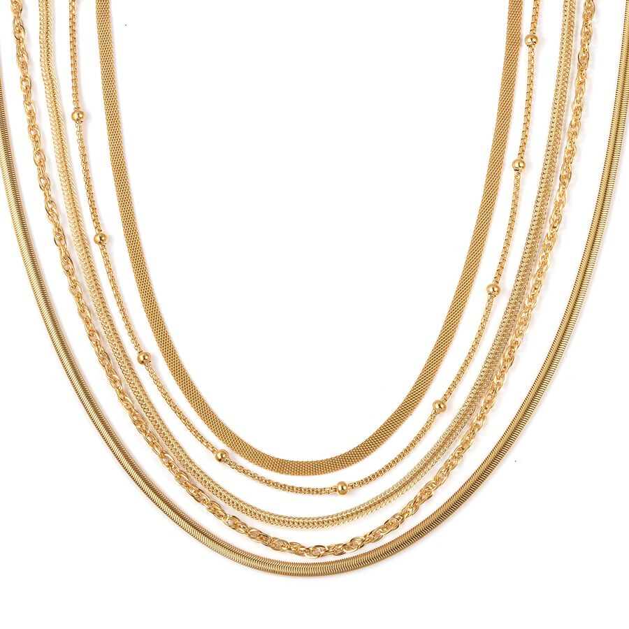 Set of 5 Stainless Steel Bismark, Foxtail, Snake, Singapore, Ball Station  Chain Necklace (Size 20) in Yellow Gold Plating - 3178130 - TJC
