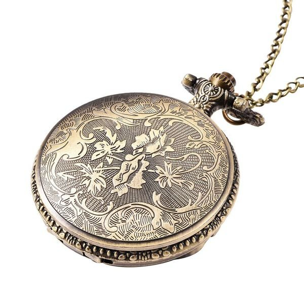 STRADA Japanese Movement Motorcycle Pattern Pocket Watch with Chain (Size 31) in Antique Bronze Tone