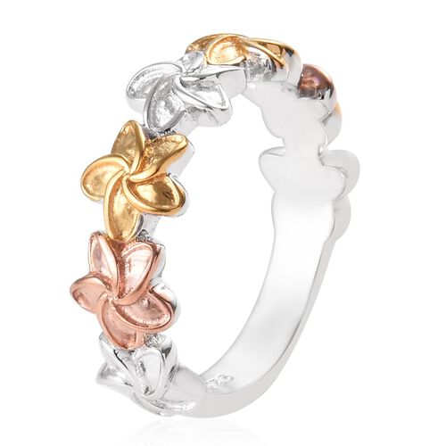 Platinum, Yellow and Rose Gold Overlay Sterling Silver Floral Ring