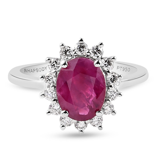 RHAPSODY 950 Platinum Burmese Ruby and Diamond Ring 2.90 Ct. Platinum Wt. 5.17 Gms.