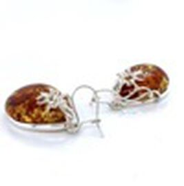 Natural Baltic Amber Hook Earrings in Sterling Silver, Silver wt 7.47 Gms