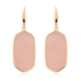 Rose Quartz Hook Earrings in Yellow Gold Tone 85.00 Ct.