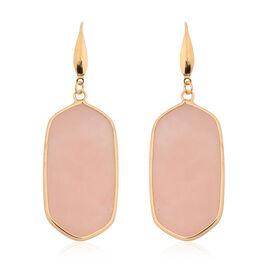 Rose Quartz Hook Earrings in Yellow Gold Tone 85.00 Ct.