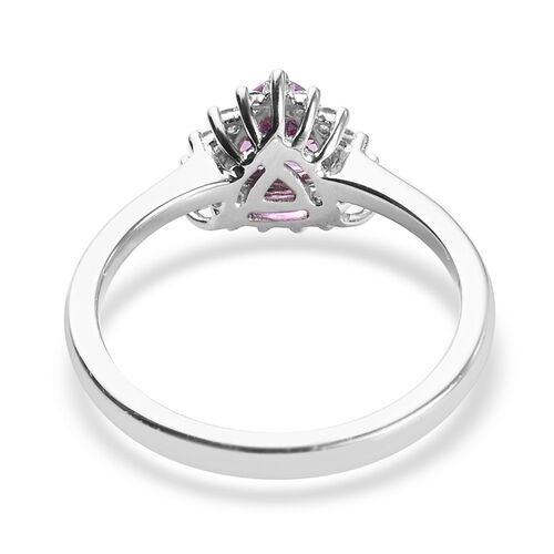 RHAPSODY 950 Platinum AAAA Madagascar Pink Sapphire and Diamond (VS/E-F) Ring 1.10 Ct, Platinum wt. 4.70 Gms
