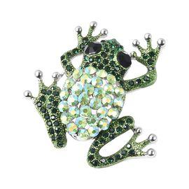 Multi Color Crystal Frog Brooch